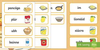 Pancake Tuesday Word Cards Gaeilge - pancake day, pancake tuesday, shrove tuesday, pancake, gaeilge, word cards, word, cards