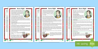 CfE Second Level Burns Night Differentiated Reading Comprehension Activity - Famous scots, Robert Burns, Rabbie Burns, Scotland, Robbie Burns, Scottish celebrations