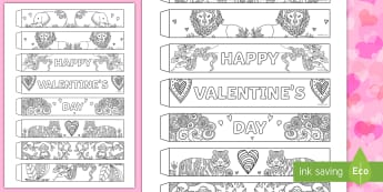 Valentines Day Mindfulness Animals Paper Chain - Valentine's Day,  Feb 14th, love, cupid, hearts, valentine, flower, flowers