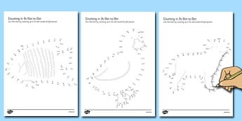 Counting in 3s Dot to Dot Worksheets Animal Themed - three, timestables, multiples, animals, worksheets