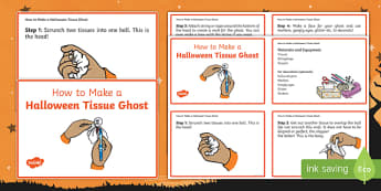 Halloween Tissue Ghost Craft Instructions