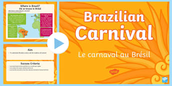Brazilian Carnival PowerPoint English/French - KS2, Brazil, carnival, festivals, celebrations, culture, geography, carnaval, brazilian, culture, so