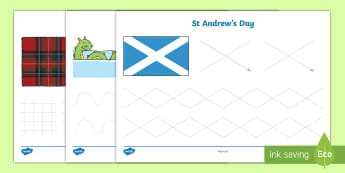 St. Andrew's Day Pencil Control Activity Sheets - Patron, Saint, Scotland, November, Scottish