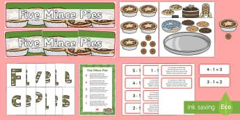 Five Mince Pies Nursery Rhyme Display Pack - five mince pies, nursery rhyme, rhyme, rhyming, christmas, food, santa, display pack