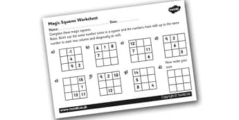 Magic Squares 2 Worksheet - magic squares, magic squares number puzzles, magic squares numeracy worksheets, numeracy puzzles, numeracy games, ks2 numeracy