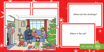 Christmas Place Prepositions Question Cards
