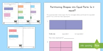 Is It Equal? Partitioning Shapes Activity Sheet - Partitioning shapes, equal groups, sharing, geometry, shapes, worksheet