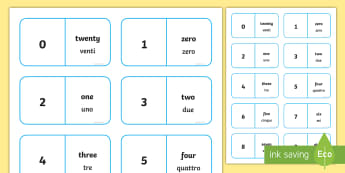 Number Bonds to 20 Dominoes English/Italian  - maths, numeracy, game, activity, counting, adding, early years, ks1, key stage 1, EAL