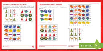 Christmas Algebra Differentiated Activity Sheets - Algebra, Equations, Linear, Simultaneous, Solving, Christmas, worksheets, picture, pictorial