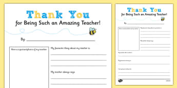 Teacher Thank You Letter - End of School Year Thank You Note