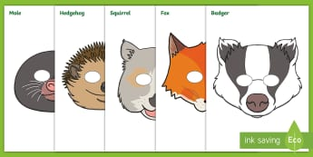 Woodland Animals Role-Play Masks - Squirrel, hedgehog, badger, owl, fox, mouse, rabbit, Mole