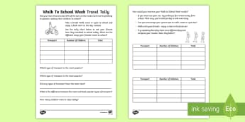 KS1 Walk to School Week Tally Chart Activity Sheet - Walk To School Week, data handling, maths, data, tally chart, worksheet, tally, problem solving, tra