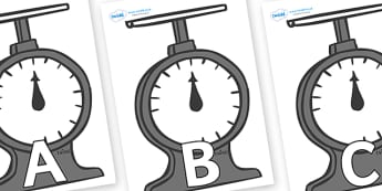 A-Z Alphabet on Weighing Scales - A-Z, A4, display, Alphabet frieze, Display letters, Letter posters, A-Z letters, Alphabet flashcards