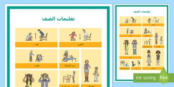 شبكة مفردات تعليمات الصف - إدارة الصف، قواعد، تعليمات، ارشادات، السلوك، التصرفات