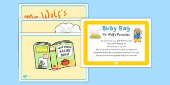 Story Activity Busy Bag Prompt Card and Resource Pack to Support Teaching on Mr Wolf's Pancakes - EYFS, Pancake Day, Shrove Tuesday