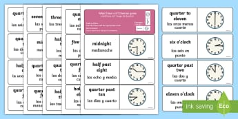Telling the Time Dominoes English/Spanish - activity, game, EAL, Spanish translation, number recognition