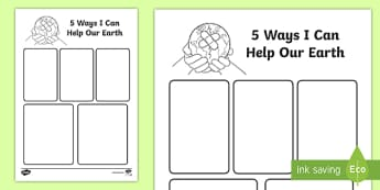 t t five ways i can help the earth writing frame ver 1