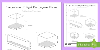 The Volume of Right Rectangular Prisms Activity Sheet - right rectangular prisms, cubes, cubic, volume, length, width, height