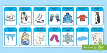 Winter Words and Pictures Flashcards English/Hindi - winter, visual aids, cards, winterwords, flashards,wool, hat, ice, snow