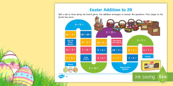 Differentiated Easter Addition Board Game - Australia Easter Maths, easter, australia, mathematics, addition, place value, number, number and al