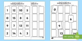 Ordering Numbers 0 to 15 Activity Sheet Arabic/English  - ordering numbers, number sequence, less than 15, number cards, 15 cards, maths, EAL,Arabic-translati