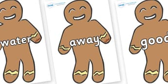 Next 200 Common Words on Gingerbread Men - DfES Letters and Sounds, Letters and Sounds, Letters and sounds words, Common words, 200 common words