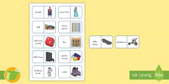 Dominos: Los juguetes - Inglés - toys, lengua extranjera, inglés, english, domino, game, juego,Spanish-translation