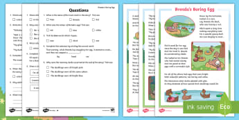 Brenda's Boring Egg Differentiated Reading Comprehension Activity - twinkl originals, fiction, ugly duckling, Year 1, Year 2, Inference, deduction, story questions