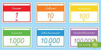 Stellenwerte Poster für die Klassenraumgestaltung - Zahlen, Nummern, Ziffern, Null, Stellenwert, Mathe, Zählen,,German