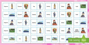 Dominos Llun a Gair Santes Dwynwen - Dominos, geirfa, Santes Dwynwen, Dathliadau Cymreig, Traddodiaua Cymreig, matsio,Welsh-translation