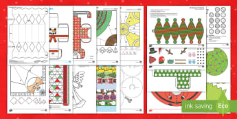 Christmas Paper Craft Pack English/Portuguese - Christmas Craft and Paper Model Pack - christmas, craft, pack, chritmas, chriatmas, christms, christ
