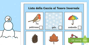 Lista della Caccia al Tesoro Invernale - Inverno, caccia, al tesoro, neve, ombrello, stagioni, attivita, italiano, italian
