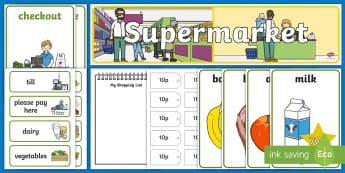 Supermarket Role Play Pack - Role Play Pack - Supermarket Role Play, supermarket resources, food, labels, till, customer, checkout, basket, food aisle, role play, display, poster, role play, Display signs, display, labels, pack