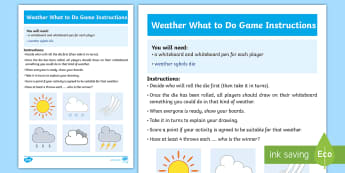 Weather What To Do Game Instructions - CfE Social Studies, people, place, environment, weather, coping with climate, weather effects