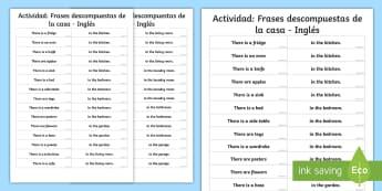 Actividad: Frases descompuestas de la casa - Inglés -  frases partidas, encuentra la pareja, habitaciones, objetos cotidianos,Spanish