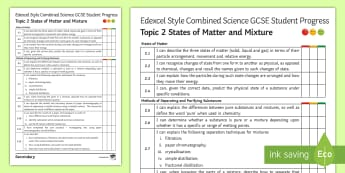 Edexcel-Style Combined Science (Chemistry) States of Matter Student Progress Sheet - States of Matter, Separation,, Mixtures, Calculations, Moles, Chromatography, Filtration, Distillati