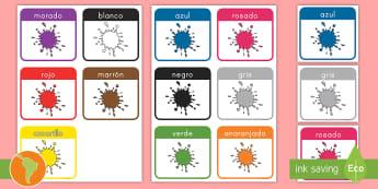 Tarjetas de vocabulario: Los colores - tarjetas de vocabularios, colores, amarillo, azul, rojo, verde, morado, negro, colores en español,