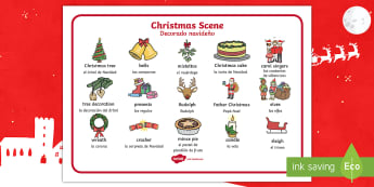 Christmas Scene Word Mat English/Spanish - EAL,Christmas Scene Word Mat - chrisrmas, vocabulary mat, word mat, key words, topic words, word pos