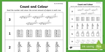 Up, Up and Away! Count and Colour Activity Sheet - aistear, exploring my world, story, literacy, oral languages, airport, worksheet, travel, aeroplane,