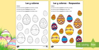 Easter Egg Read and Colour Activity Sheet Spanish - Spring, KS2, Spanish, MFL, easter, egg, read, colour, activity, sheet, worksheet