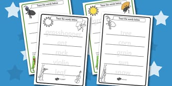 The Ant and the Grasshopper Trace the Words Worksheets - Ant