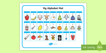 A-Z Alphabet Mat (Phase 1) - Alphabet Mat, DfES Letters and Sounds, Letters and sounds, Letters A-Z, Learning Letters, Phase one, Phase 1 Foundation Letters, Mnemonic images