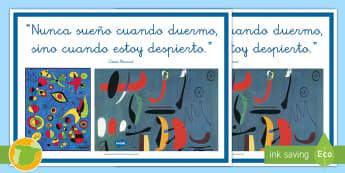 Póster: Frase de Miró    - Miró, Surrealismo, Arte, Dibujo, Pintor,Spanish