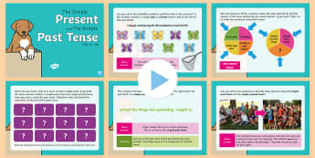 Year 2 Simple Past & Simple Present Tense Warm-Up PowerPoint - KS1 Spelling, Punctuation & Grammar Warm-Up PowerPoints, warm-up, warm up, warm, up, powerpoint, spa