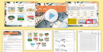 My Town Cover Work Lesson Pack French - cover work, French, French cover work, French KS3, KS3, ville, town, places in town,French