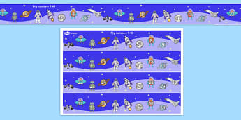 My Space Themed Number Strips 1-40 - numbers, numerstrip, number strip, counting, space themed, space, in space, space number strips, space 1-40, counting on, counting back, maths, math, numeracy, number track, number line
