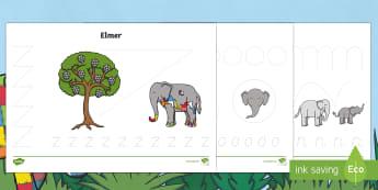 Pencil Control Activity Sheets - EYFS, Early Years, KS1, Elmer, David McKee, colour, elephant, pencil control, pencil grip, fine moto
