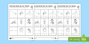 Find and Write the aw Words Differentiated Activity Sheets  - Phonics activity, phase 5, letters and sounds, aw sound, find the sound, sort the pictures, write th