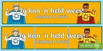 Suid Afrika Jeugdag 16 Junie Banner  - Jeugday, 16 Junie, jeug, plakkat, held