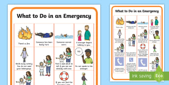 What To Do In An Emergency Display Poster - fire engine, ambulance, coastguard, police, safety, wellbeing, responsibilities, 999
